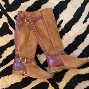CUTE! Nine West tall fall leather  boots Sz 8